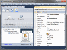Screenshot of Ribbon Designer for Microsoft SharePoint and Office 365 - .NET - V1.0.251