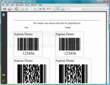 Screenshot of Aspose.BarCode for JasperReports - Add-in - V1.6