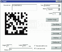 Screenshot of Active 2D Barcode Component - DataMatrix - ActiveX - V7.3