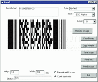 Screenshot of Active 2D Barcode Component - PDF417 - ActiveX - V7.1