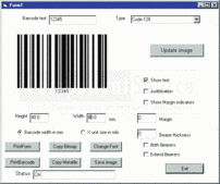 Screenshot of Active Barcode Component - GS1 - ActiveX - V7.3