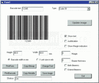 Screenshot of Active Barcode Component - Standard - ActiveX - V6.5