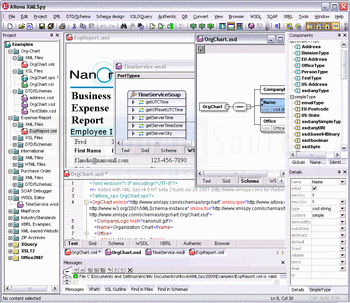 An organization chart shown in XML code view and schema view.