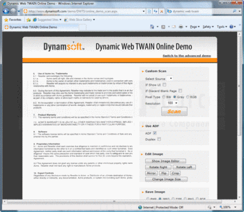 Setting custom scan settings with Dynamic Web TWAIN.