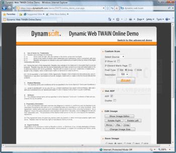 Setting custom scan settings with Dynamic Web TWAIN.