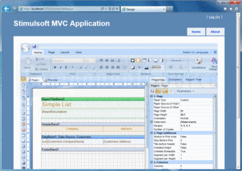 Create reports using Stimulsoft Reports.Web for MVC.