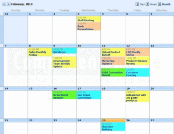 A calendar created with Event Calendar Plus.