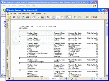 A product list PDF created with Aspose.Pdf.