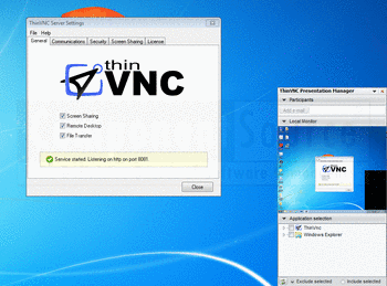 Connect using ThinVNC.