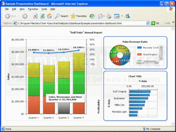 Sample presentation dashboard showing donut, bar and combined charts.