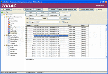 VirtualTable demo in InterBase Data Access Components.