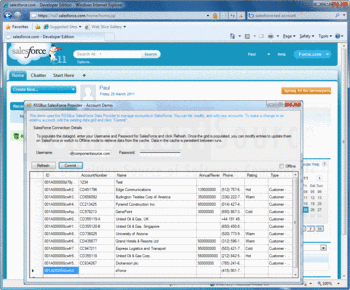 List, modify and add new accounts with Salesforce Data Provider for ADO.NET from RSSBus.