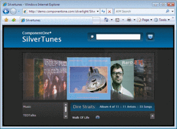 Silvertunes demo application in ComponentOne Studio for Silverlight.