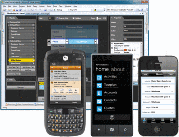 Windows Mobile, Windows Phone 7 and iOS applications created with Resco MobileApp Studio