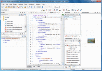 Edit XML using oXygen XML Author.