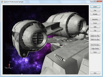 A 3D spaceship model shown within an Eyeshot viewport.