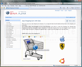 An AJAX shopping cart example that supports drag-and-drop purchasing.