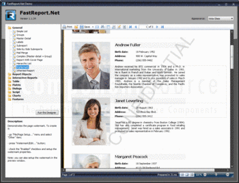 A demo report showing FastReport.Net's watermark functionality.