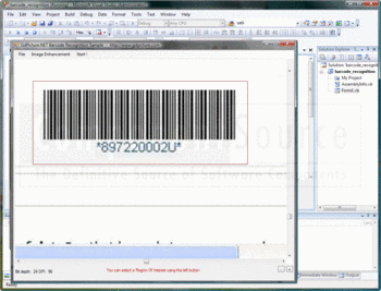 Detecting a barcode from a region of interest.