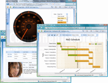 A selection of DXperience controls including Gauge and Gantt chart.