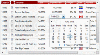A themed listview window showing the date picker control.
