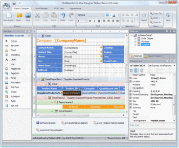 An end-user report designer demo with ribbon bar.