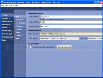 Entering project information with InstallAnywhere.