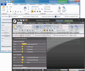 Example ribbons in Office 2010 TP and Office 2007 Black visual themes.