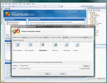 The Code Complete .NET Solution Wizard running in Visual Studio 2008.