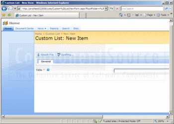 Creating a new list item with Custom List Form Extender.