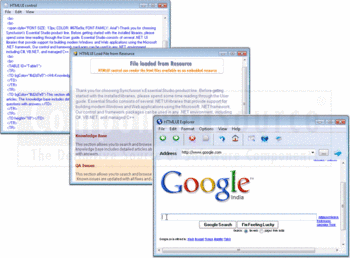 HTMLUI windows displaying Web pages and files loaded from resource.