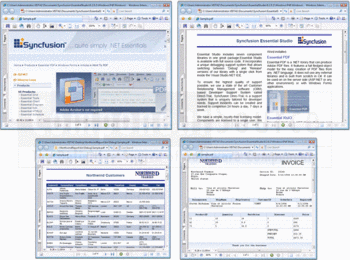 A selection of PDF documents created with Syncfusion Essential PDF.