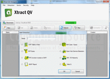 Selecting an extraction type to add with Xtract QV.