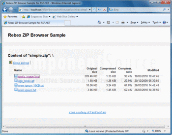Viewing the contents of a ZIP with Rebex ZIP for .NET Browser Sample.
