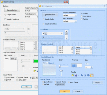 A selection of UI elements with Vista and Office 2007 skins.