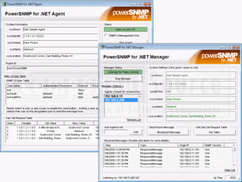 PowerSNMP for .NET's Agent and Manager windows.