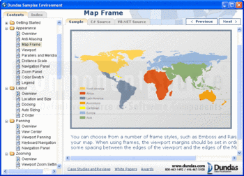 A world continents map sample displayed in Dundas Map for .NET.