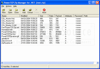 Displaying a list of compressed files in PowerTCP Zip Compression for .NET.