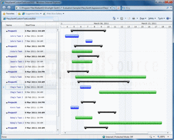 Componentsource news radiantq wpf gantt a gantt chart created with silverlight gantt and displayed in a browser ccuart Images