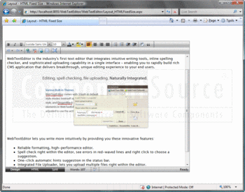 WebTextEditor Design view shown running within Internet Explorer.
