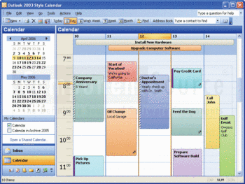 An Outlook style calendar created with Codejock Xtreme Calendar.