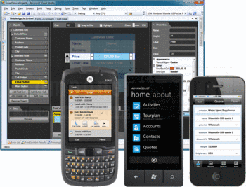 Windows Mobile, Windows Phone 7 and iOS applications created with Resco MobileApp Studio.