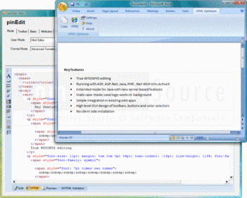 Word document and HTML code optimized with HTMLOptimizer4Word.