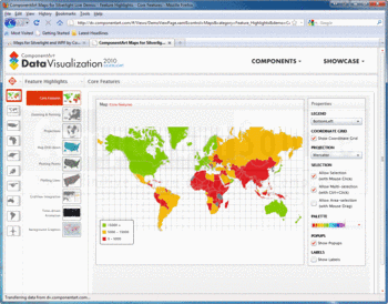 World map displayed in a browser with ComponentArt Maps for Silverlight.