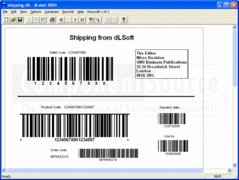 A shipping label created with dLabel.