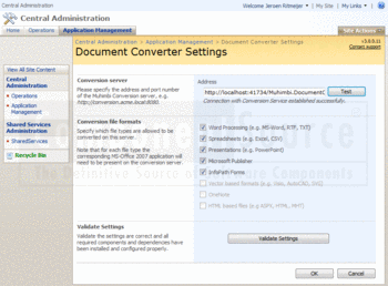 Selecting a conversion server and file formats in Document Converter.