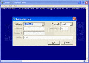 Connection info in PowerTCP Telnet for ActiveX.