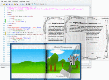 Page turning animations in Actipro Silverlight Studio.