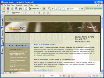 activePDF Toolkit product datasheet.
