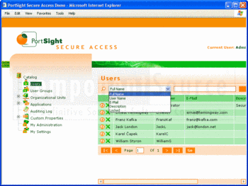 Filtering a user list in PortSight Secure Access.
